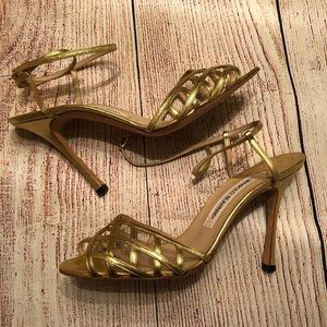 Manolo Blahnik Gold Sandal